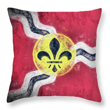 Throw Pillow featuring the digital art Saint Louis City Flag by JC Findley