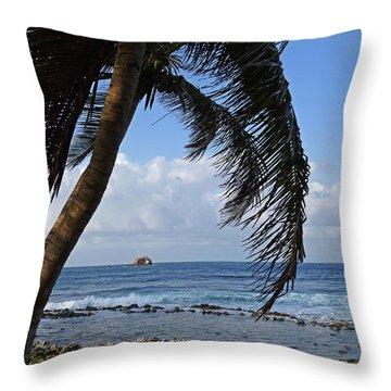 Saint Lucia Palm Tree Small Rock Caribbean Throw Pillow