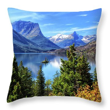 Saint Mary Lake In Glacier National Park Throw Pillow