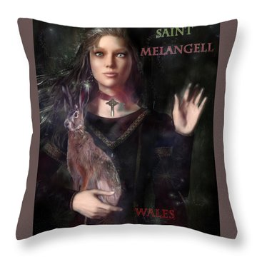 Saint Melangell Of Wales Throw Pillow by Suzanne Silvir