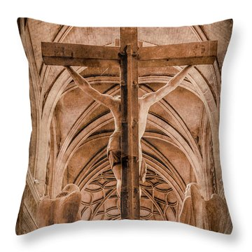 Paris, France - Saint Merri's Cross II Throw Pillow