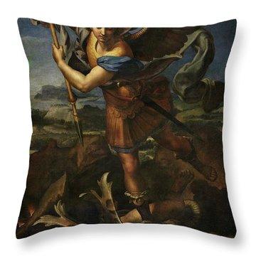 Saint Michael Defeats Satan Throw Pillow