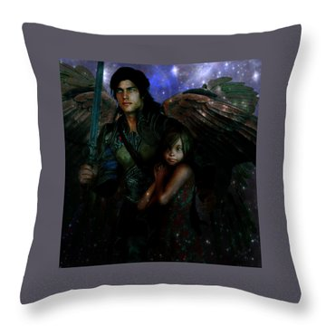 Throw Pillow featuring the painting Saint Michael Protect Us by Suzanne Silvir