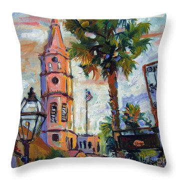 Throw Pillow featuring the painting Saint Michaels Church Charleston Sc Oil Painting by Ginette Callaway