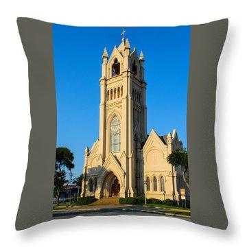 Saint Patrick Catholic Church Of Galveston Throw Pillow by Tikvah's Hope