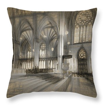 Saint Patrick's Cathedral In New York City Throw Pillow