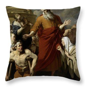 Saint Paul Healing The Cripple At Lystra Throw Pillow by Karel Dujardin