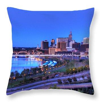 Saint Paul Minnesota Skyline Blue Morning Light Throw Pillow