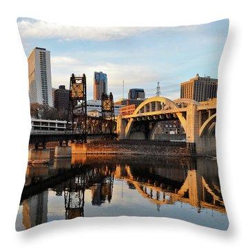 Saint Paul Mississippi River Sunset Throw Pillow