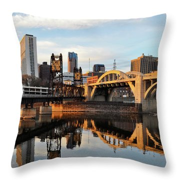 Saint Paul Mississippi River Sunset Throw Pillow