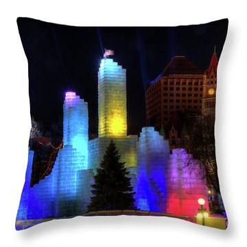 Saint Paul Winter Carnival Ice Palace 2018 Lighting Up The Town Throw Pillow