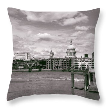 Saint Pauls Cathedral Along The Thames Throw Pillow