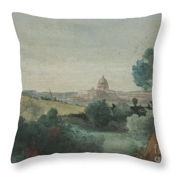 Saint Peter's Seen From The Campagna Throw Pillow by George Snr Inness