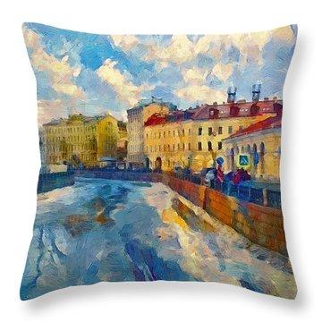 Saint Petersburg Winter Scape Throw Pillow