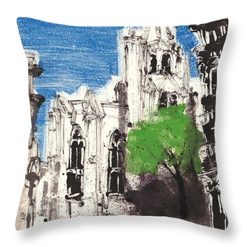 Throw Pillow featuring the painting Saint Pierre Avignon Provence by Martin Stankewitz