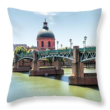 Throw Pillow featuring the photograph Saint-pierre Bridge In Toulouse by Elena Elisseeva