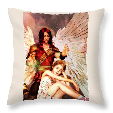 Throw Pillow featuring the painting Saint Raphael Heals by Suzanne Silvir