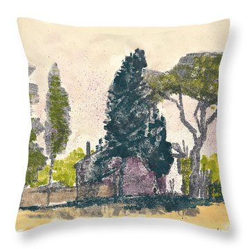Throw Pillow featuring the painting Saint Remy De Provence Landscape by Martin Stankewitz