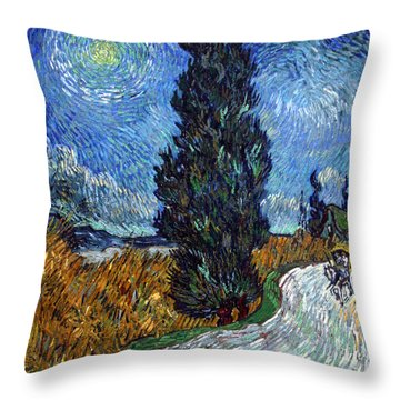Saint-remy Road With Cypress And Star Throw Pillow