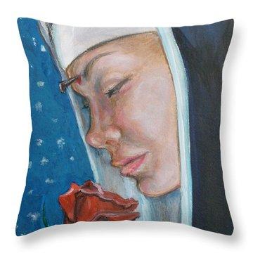 Saint Rita Of Cascia Throw Pillow by Bryan Bustard