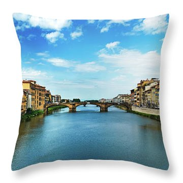 Panoramic View Of Saint Trinity Bridge From Ponte Vecchio In Florence, Italy Throw Pillow