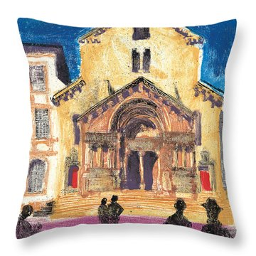 Throw Pillow featuring the painting Saint Trophime Arles Provence by Martin Stankewitz