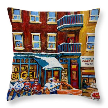 Saint Viateur Bagel With Hockey Throw Pillow