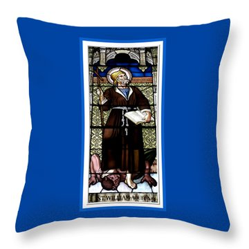 Saint William Of Aquitaine Stained Glass Window Throw Pillow by Rose Santuci-Sofranko