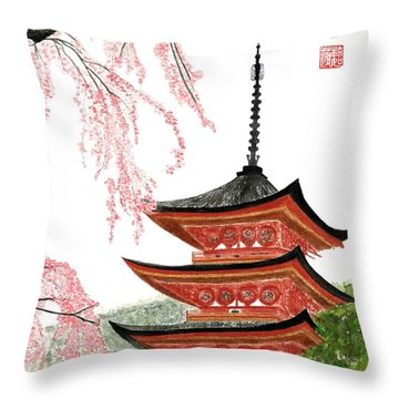 Sakura At Gojunoto Pagoda Throw Pillow