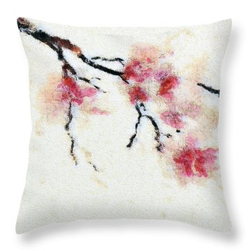 Sakura Branch Throw Pillow