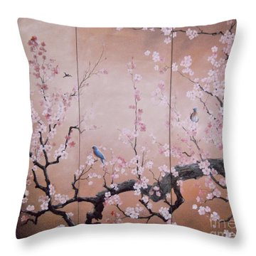 Sakura - Cherry Trees In Bloom Throw Pillow