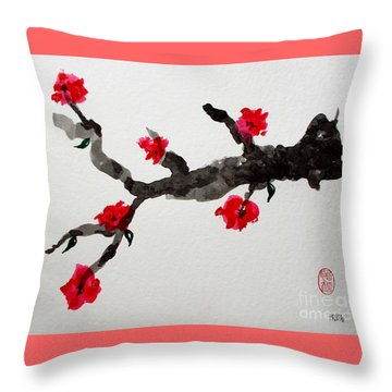 Throw Pillow featuring the painting Sakura No Jikan I by Roberto Prusso