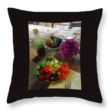Salad And Dressing With Squash And Dahlia Throw Pillow