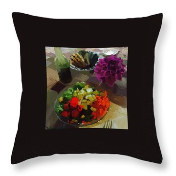 Salad And Dressing With Squash And Purple Dahlia Throw Pillow