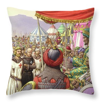 Saladin Orders The Execution Of Knights Templars And Hospitallers  Throw Pillow by Pat Nicolle