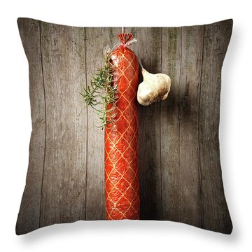 Salami Sausage  Throw Pillow