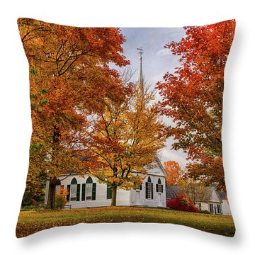 Throw Pillow featuring the photograph Salem Church In Autumn by Jeff Folger