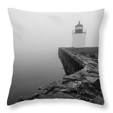 Salem Ma Derby Wharf In Heavy Fog Throw Pillow