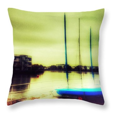 Throw Pillow featuring the photograph Salford Quays Boats Waiting by Isabella F Abbie Shores FRSA
