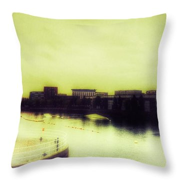 Throw Pillow featuring the photograph Salford Quays Promenade by Isabella F Abbie Shores FRSA