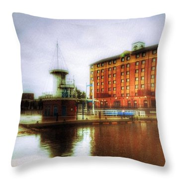 Throw Pillow featuring the photograph Salford Quays Red Brick Building by Isabella F Abbie Shores FRSA