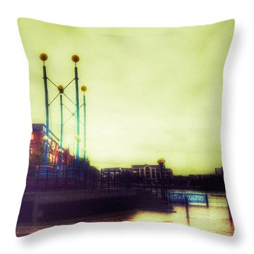 Throw Pillow featuring the photograph Salford Quays Walkway by Isabella F Abbie Shores FRSA