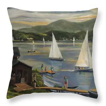 Sailing At Lake Morey Vermont Throw Pillow by Nancy Griswold