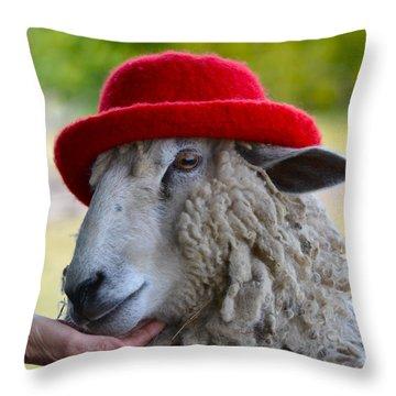 Sally The Sheep Throw Pillow