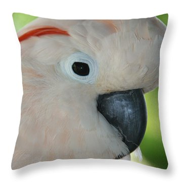 Salmon Crested Moluccan Cockatoo Throw Pillow by Sharon Mau
