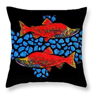 Throw Pillow featuring the painting Salmon by Debbie Chamberlin