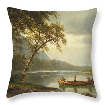 Salmon Fishing On The Caspapediac River Throw Pillow by Albert Bierstadt
