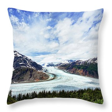 Salmon Glacier Throw Pillow by Heidi Brand