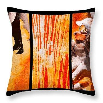 Salmon Gum Tree Triptych Throw Pillow