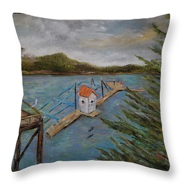 Throw Pillow featuring the painting Salmon Hatchery, Juneau, Alaska by Judith Rhue
